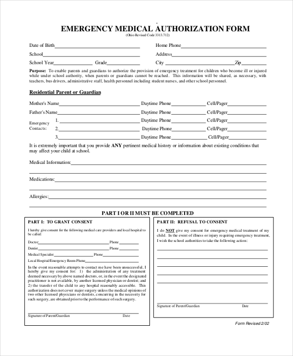 Emergency Medical Authorization Form In PDF