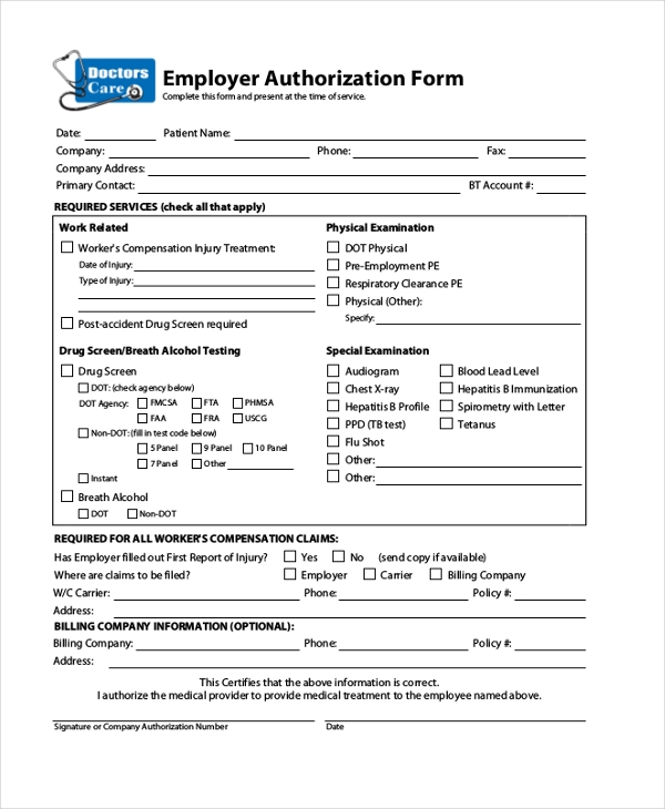 employer medical authorization form