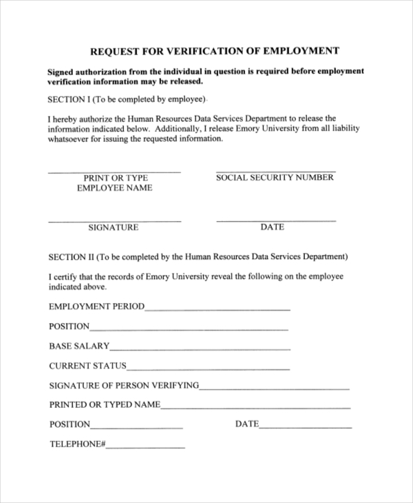 Employment Verification Authorization Form Sample  Employment Verification Form Sample