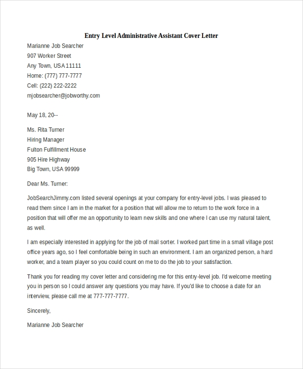 Free Cover Letter Examples For Administrative Assistant