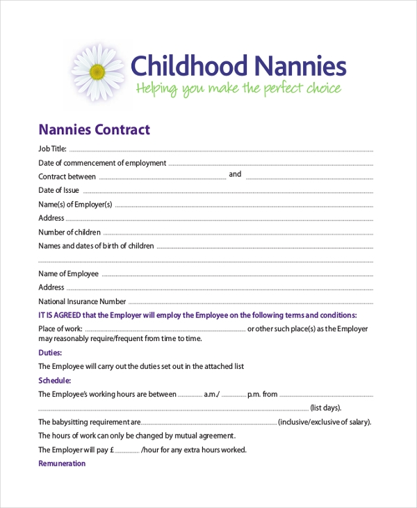 Sample Nanny Contract Form   Free Documents In Pdf Doc