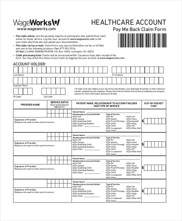 healthcare reimbursement claim form