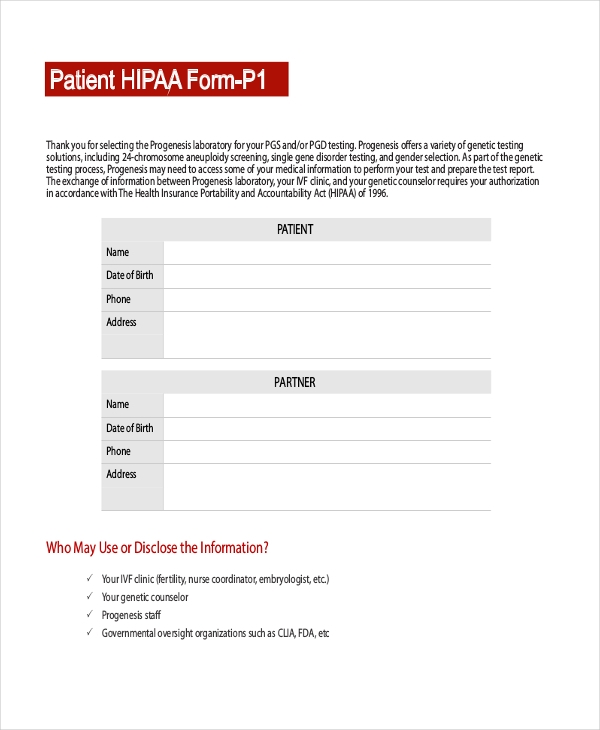 hipaa form for patients