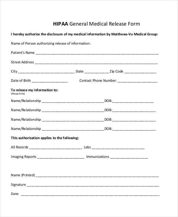 Sample Hipaa Form   Free Documents In Pdf Doc