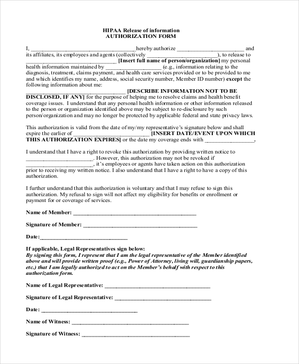 Sample Hipaa Form - 11+ Free Documents In Pdf, Doc