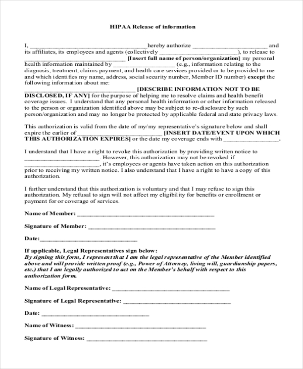 Sample Hipaa Release Forms 10 Free Documents In Pdf