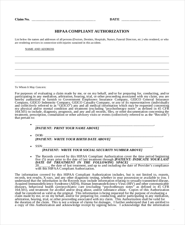 hipaa medical authorization form1
