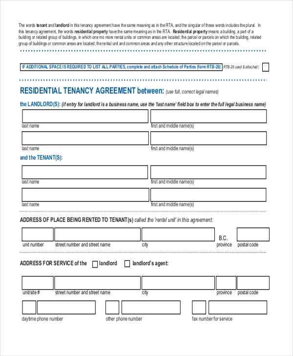 Free 11 Sample Rental Agreement Forms In Word Pdf
