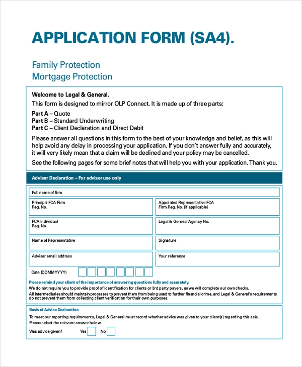 legal application form