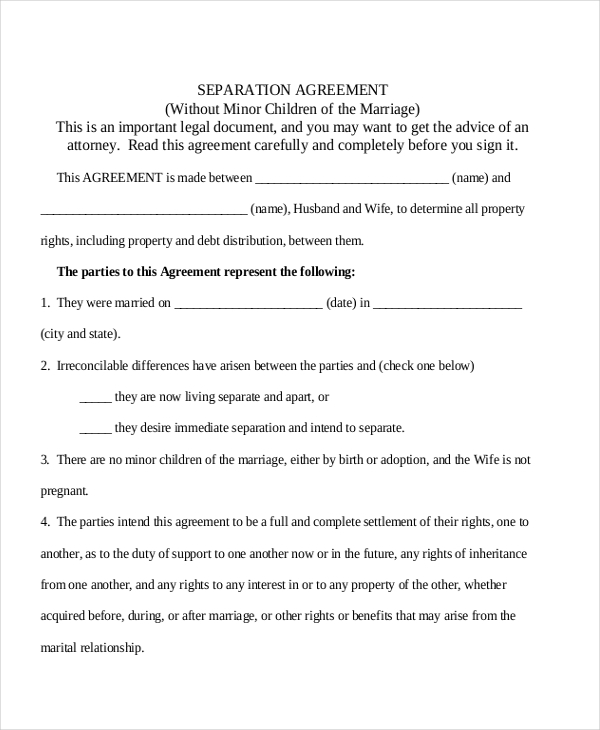 legal separation agreement form