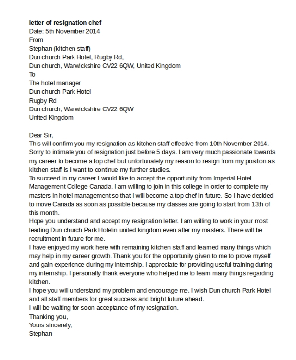 Chef resignation letter pdf sample letter of resignation example 9 free documents in word spiritdancerdesigns Choice Image