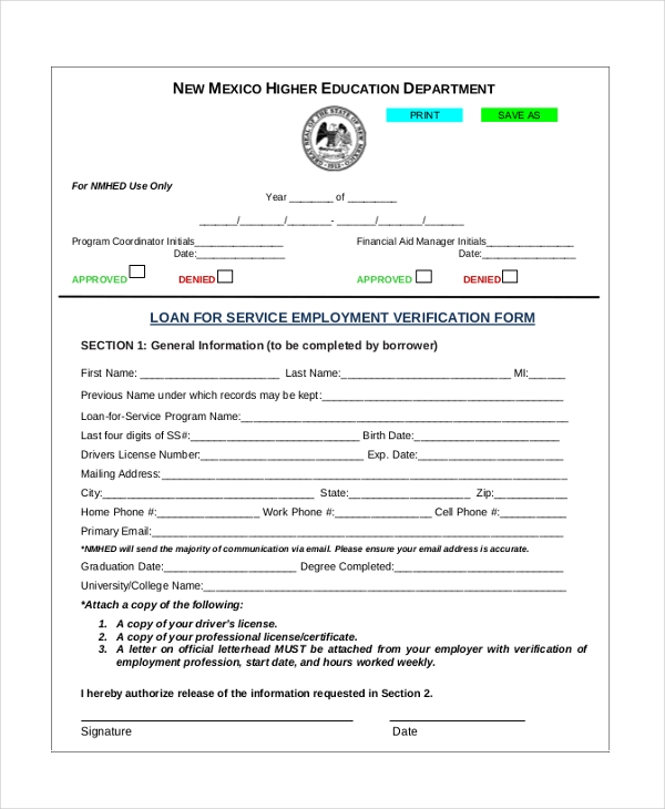 loan for service employment verification form