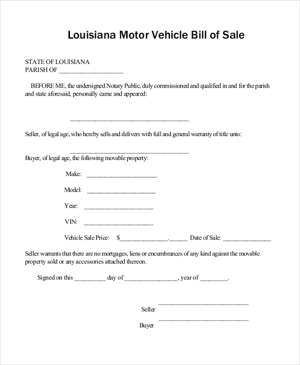 Bill Of Sale Form Car  BesikEightyCo
