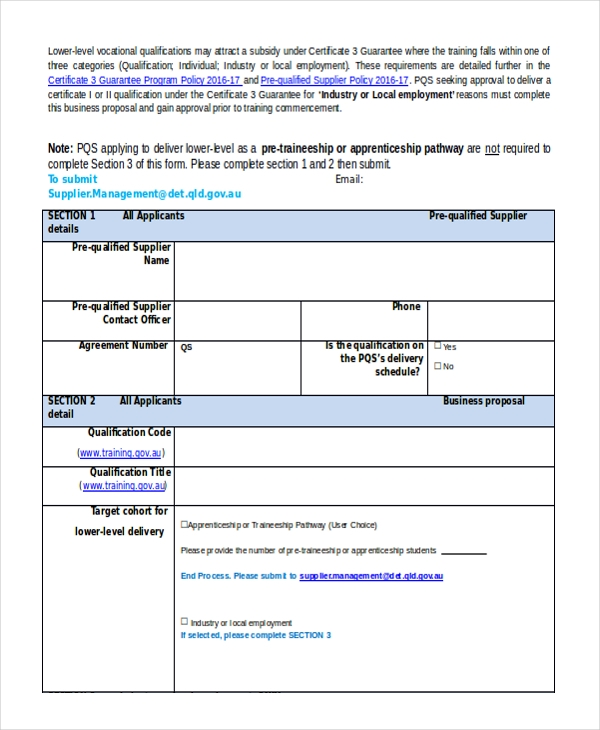 lower level business proposal form