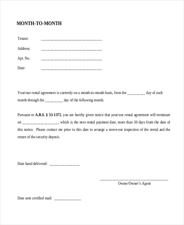 Month To Month Rental Agreement 30 Day Notice Form In PDF