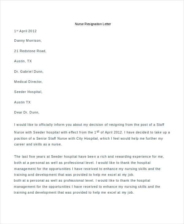 nurse resignation letter example
