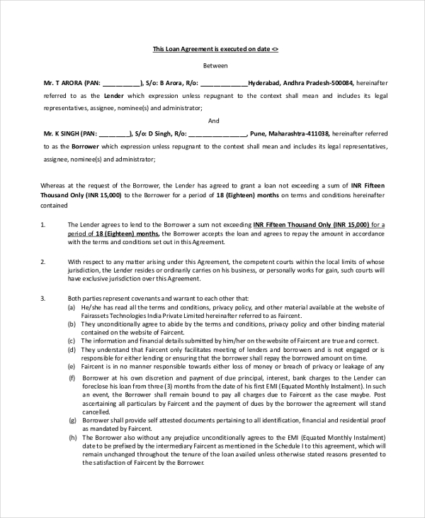 Sample Loan Agreement Form 9 Free Documents in PDF – Personal Loan Contracts