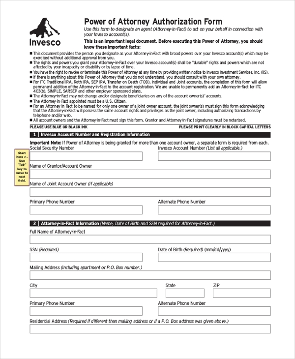 power of attory authorization form