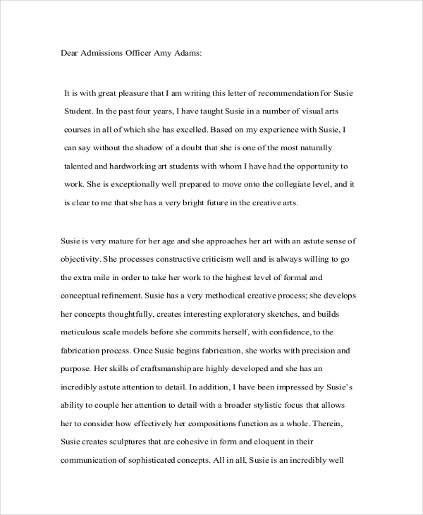 Sample Recommendation Letter For Student - Free Documents In Pdf, Doc