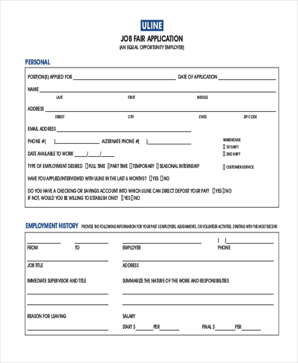 Form Job Applicant Previous Employment Previous