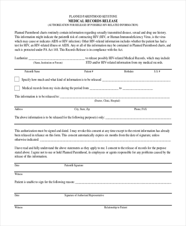 sample medical record release form - Sample Medical Records Release Form