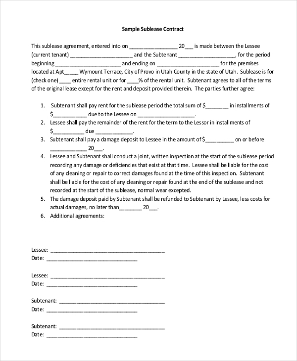 Sample Sublease Agreement Form   Free Documents In Word Pdf