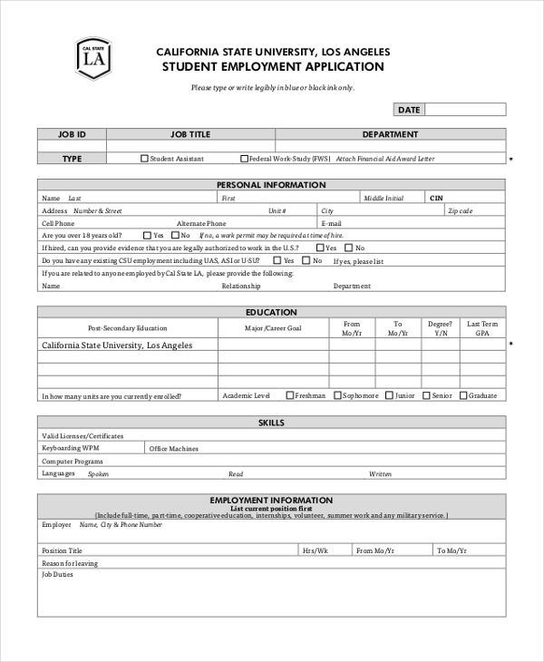 Sample Employment Application Form   Free Documents In Pdf