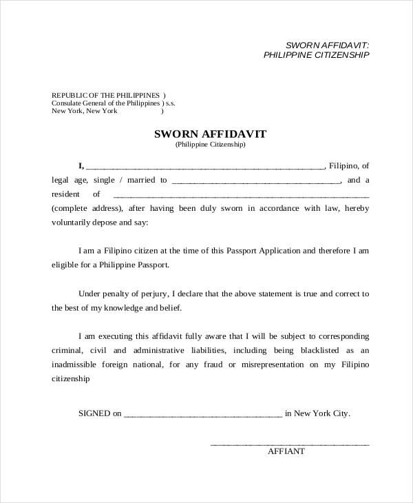 Sample Affidavit Form   Free Documents In Pdf Doc