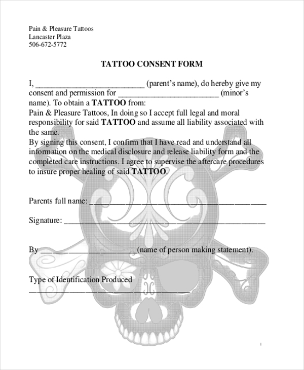 11 sample consent forms sample forms for Tattoo release form template
