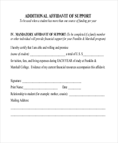 sample affidavit of support 11 free documents in pdf