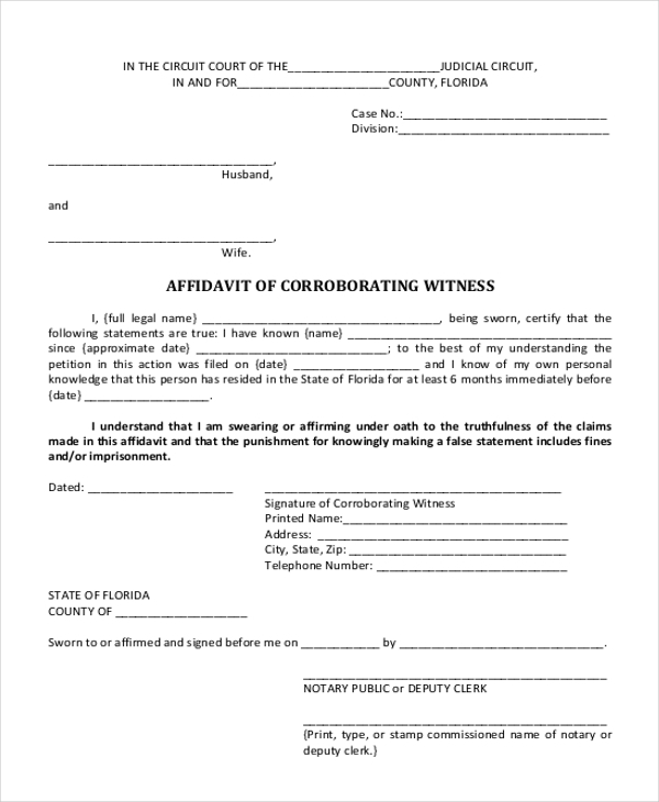 Affidavit Of Corroborating Witness Form  Affidavit Of Sworn Statement