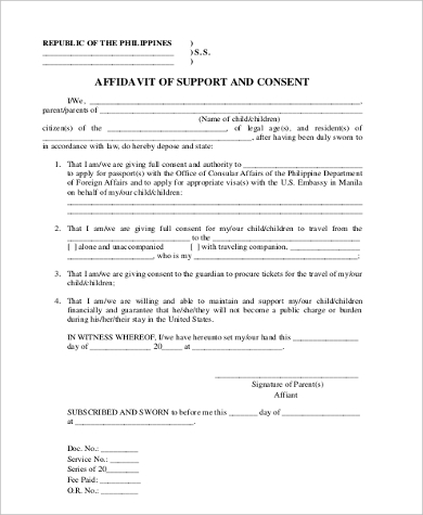 affidavit of support and consent
