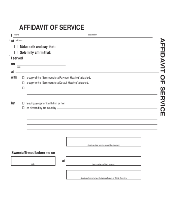 affidavit of service form