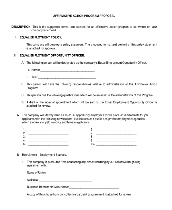 Sample Affirmative Action Form   Free Documents In Pdf