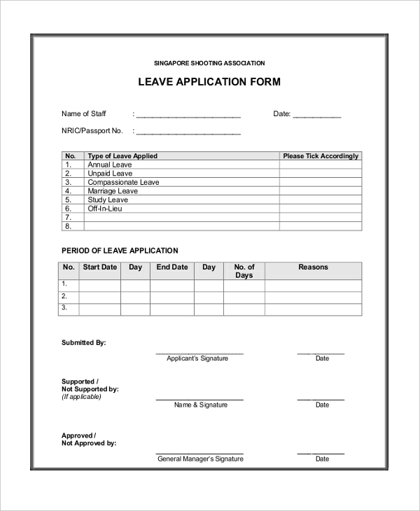Sample Leave Application Forms  Sample Example Format