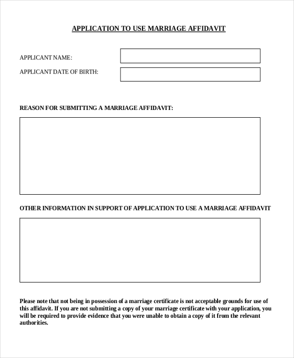 10+ Affidavit Forms For Marriage - Sample, Example, Format