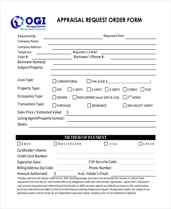 Charming Appraisal Request Order Form