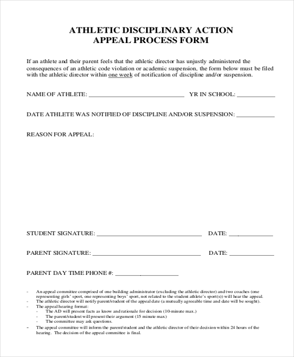 athletic disciplinary action appeal form