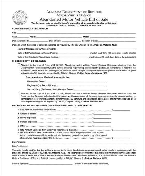 9+ Sample Motor Vehicle Bill Of Sale Forms | Sample Forms