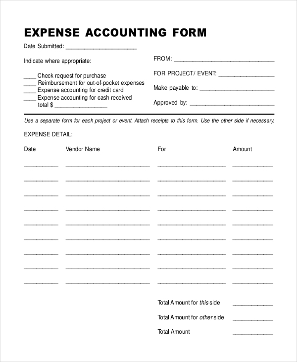 8 Sample Accounting Expense Forms Sample Example Format – Sample Expense Form