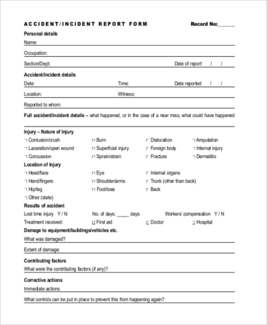 Sample Accident Report Form   Free Documents In Word Pdf
