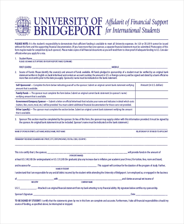 affi davit of financial support for international students