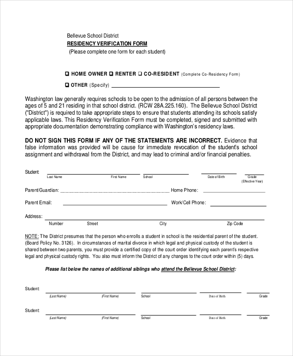 affidavit residency verification form