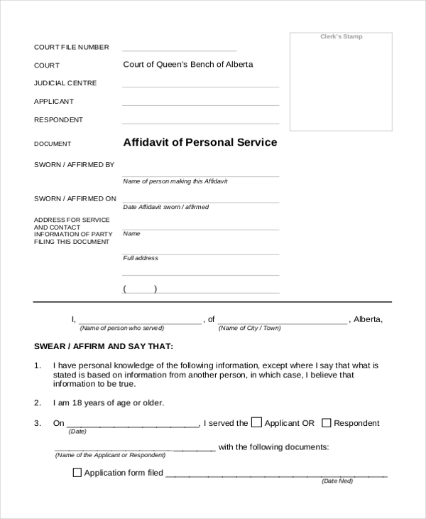 Affidavit Of Service Form - State Of New York