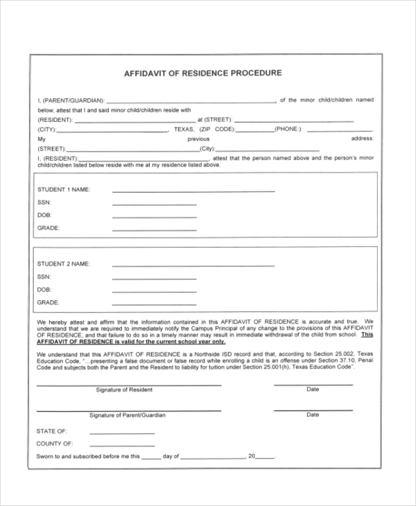 affidavit of residence procedure forms