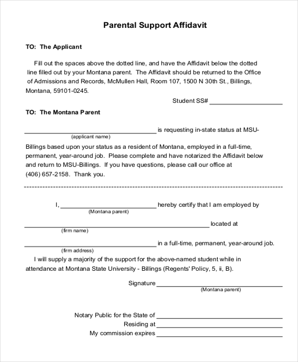 Sample Affidavit Of Support Forms   Free Documents In Pdf