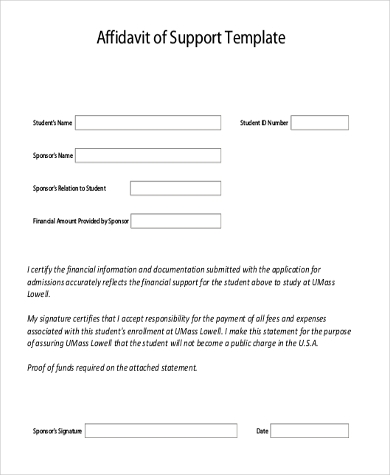 Sample Affidavit Of Support   Free Documents In Pdf