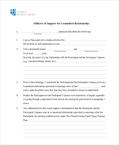affidavit of support for committed relationship