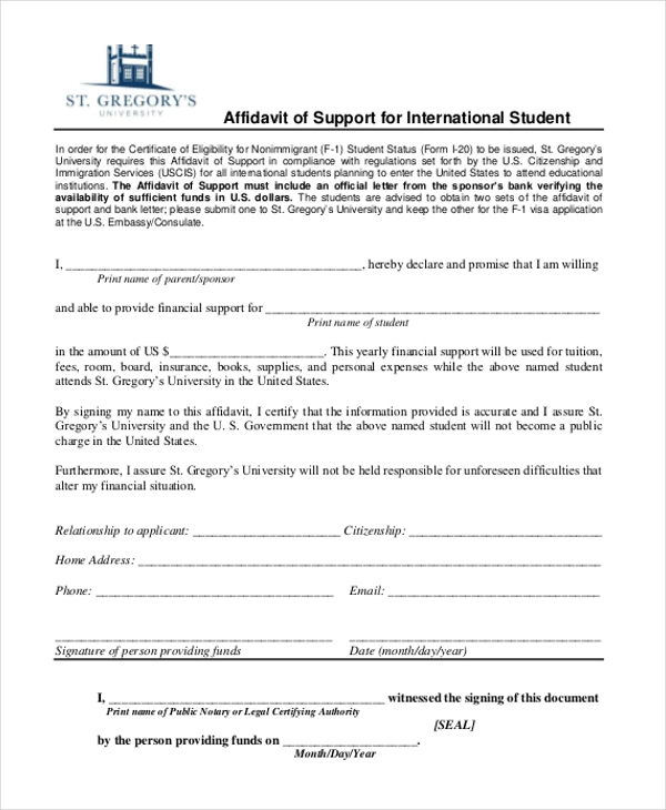 affidavit of support for international student