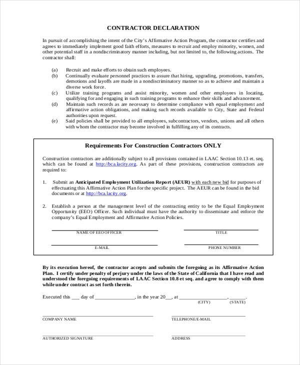 Sample Affirmative Action Forms  Free Sample Example Format